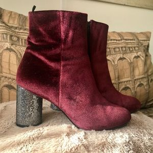 H&M Boots with Glitter Heel - Burgundy